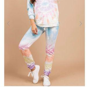 Mint Julep Let's Get Real blue tie dye pants